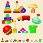 Illustration of children toys — Stock Vector