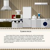 Ilustración plana de cocina — Vector de stock