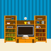 Illustration of TV room — Stock Vector