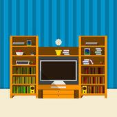 Illustration of TV room — Stock Vector