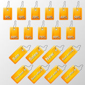 Illustration of orange labels with offers — Wektor stockowy