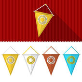 Flat illustration of triangular pennants — Vecteur