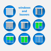 Flat icons for windows and louvers — Stock Vector