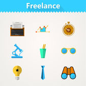 Flat vector icons for freelance and business — Vector de stock
