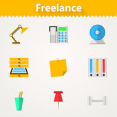 Flat vector icons for freelance and business — Stock Vector