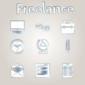 Sketch vector icons for freelance and business — Stock Vector