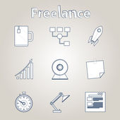 Sketch vector icons for freelance and business — Stock vektor