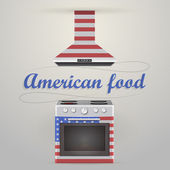 Illustration of stove and extractor. American food. — Cтоковый вектор