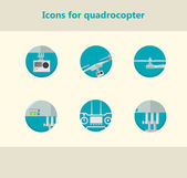 Flat circle vector icons for monitoring with quadrocopter — Stok Vektör