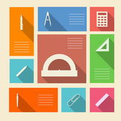 Colored vector icons for school supplies with place for text — Stock Vector