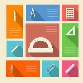 Iconos coloreados vector para útiles escolares con lugar para el texto — Vector de stock