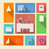 цветные векторные иконки для школьных принадлежностей с местом для текста — Cтоковый вектор