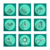 Flat vector icons for blog — Stock Vector