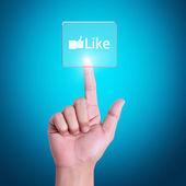 Pressing modern social buttons — Stock Photo