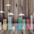 Stock Photo: Building simulation in several colors