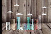 Building simulation in several colors — Stock Photo