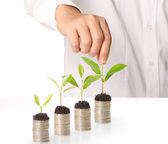 Holding plant sprouting from a handful of coins — Stock Photo