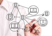 Zeichnung sozialnetz — Stockfoto
