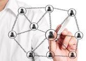 Tekening sociaal netwerk — Stockfoto