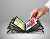Tablet streaming images — Stock Photo