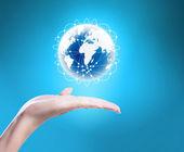 Глобус, земля в руке — Стоковое фото