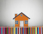 Draw with an house wity colorful pencils — Foto Stock