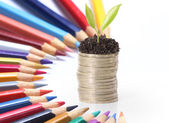 Color pencil and coin — Stockfoto