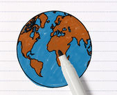 Sketch of the world map with pencil — Stock Photo