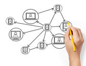 Drawing social network — Stock Photo
