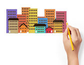 Drawing Buildings — Stock Photo