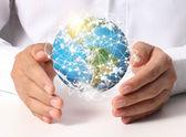 """Jorden sociala i hand """"element av denna bild inredda av nasa"""" — Stockfoto"""