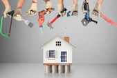 Selection of tools in the shape of a house — Stock Photo