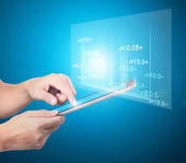 Touch screen tablet in hand — Stock Photo