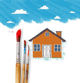 Drawing the house  — Stock Photo