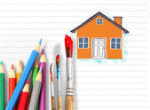 Drawing the house  — Stockfoto