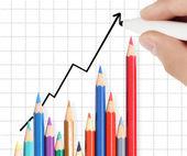 Biznes człowiek rysunek wykres — Zdjęcie stockowe