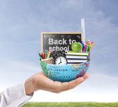 Hand holding earth and Education  — Stock Photo
