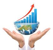 Graph on hand, local businessmen  — Stockfoto