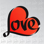 Heart typography. Love calligraphy. Love pattern. — 图库矢量图片