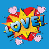 Love cartoon explosion. — Stockvector