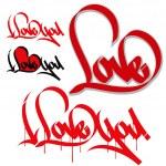I love you. Love graffiti — Stock Vector #40889153
