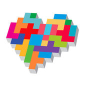 Tetris heart. — Stock Vector