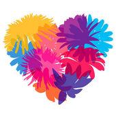 Herzen der Blume Silhouetten — Stockvektor