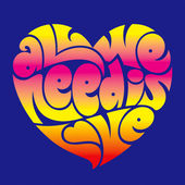 Psychedelic heart typography — Stock Vector
