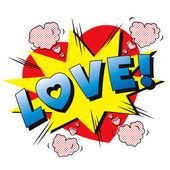 Love cartoon explosion. — ストックベクタ
