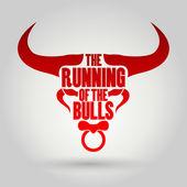 Running of the Bulls festival — Stock Vector