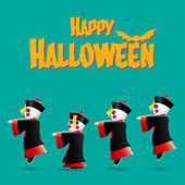 Happy Halloween with Chinese zombies — Stock Vector