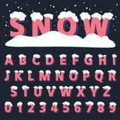 Retro type font with snow — Stock Vector