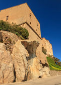 Houses built on rocks at the citadel in Corsica — Stock Photo