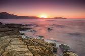 Calvi corsica içinde güneş ayarına — Stok fotoğraf